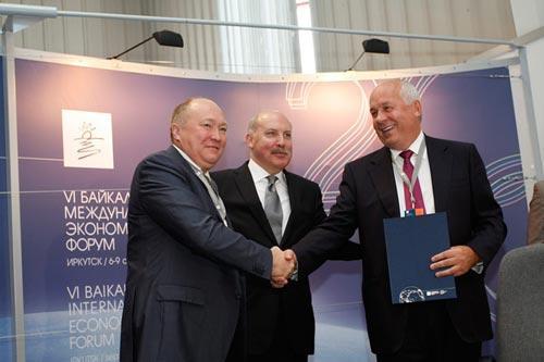 Алексей Федоров,  губернатор Иркутской области Дмитрий Мезенцев и Сергей Чемезов