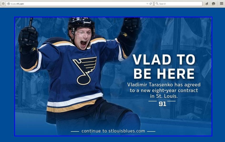 О согласии Тарасенко подписать 8-летний контракт клуб НХЛ информирует каждого посетителя экспозицией этой заставки (скриншот).