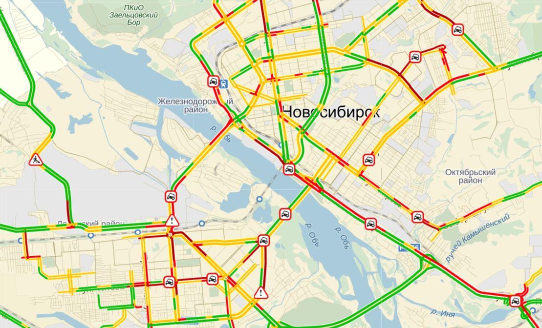 Пробки в Новосибирске устром 25 ноября.