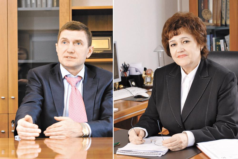 Президент банка Левобережный НАДЕЖДА ИВАЩЕНКО и генеральный директор ВЛАДИМИР ШАПОРЕНКО