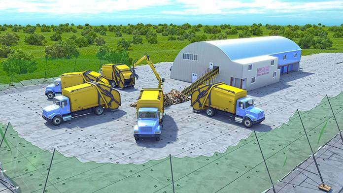 Из-за снижения курса рубля стоимость реализации проекта по строительству двух заводов переработки ТБО в Новосибирской области выросла почти вдвое. На фото: завод переработки ТБО, эскиз.