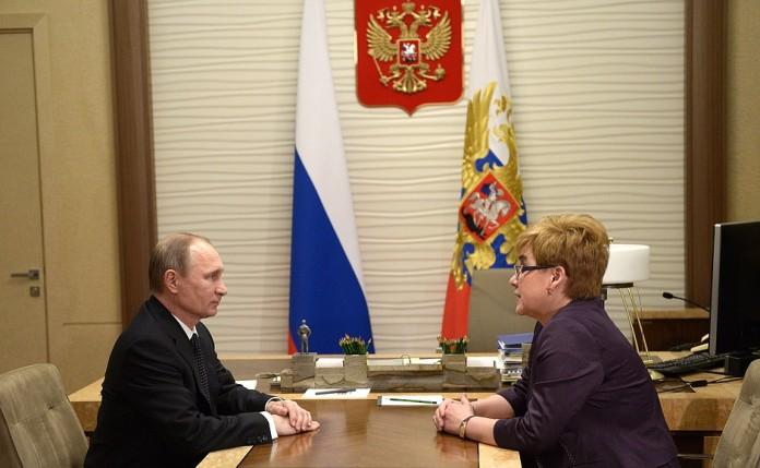 Рабочая встреча Владимира Путина и Натальи Ждановой.