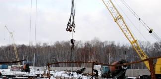 Строительство метродепо на Гусинобродском шоссе Новосибирска.