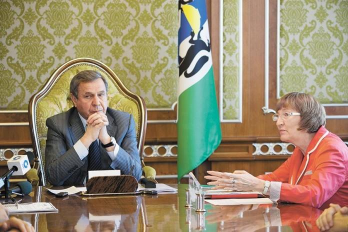 Губернатор НСО Владимир Городецкий и министр экономического развития НСО Ольга Молчанова