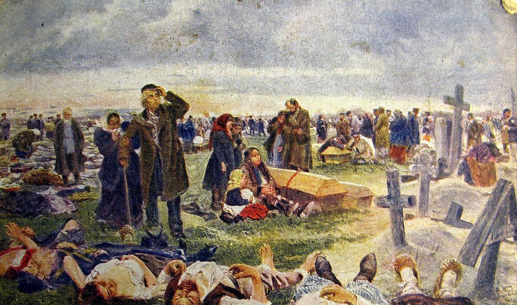 Владимир Маковский. На Ваганьковском кладбище. Похороны жертв Ходынки. 1896-1901