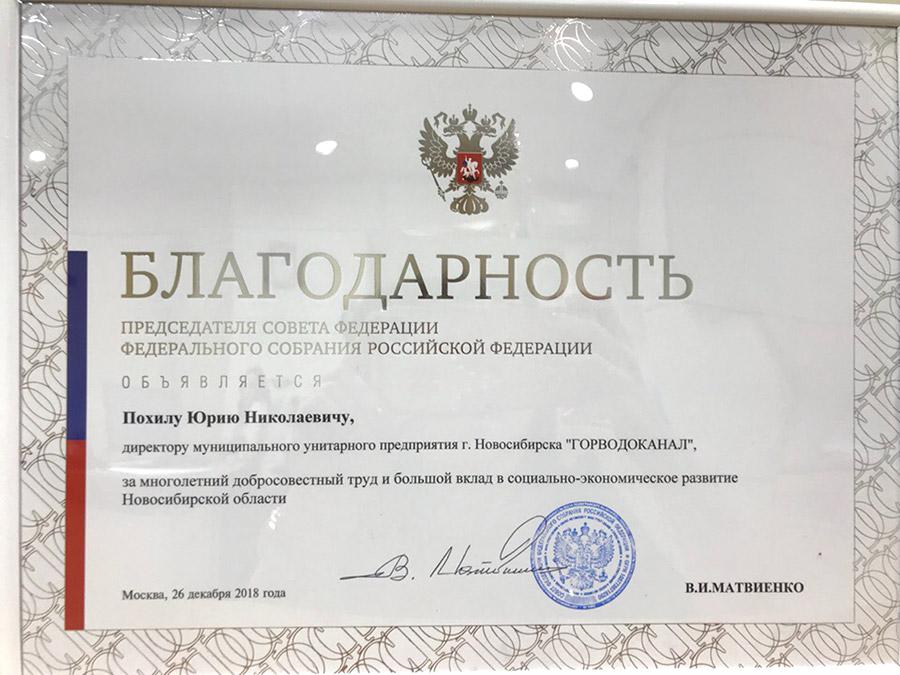 Благодарность председателя Совета Федерации Федерального собрания Российской Федерации