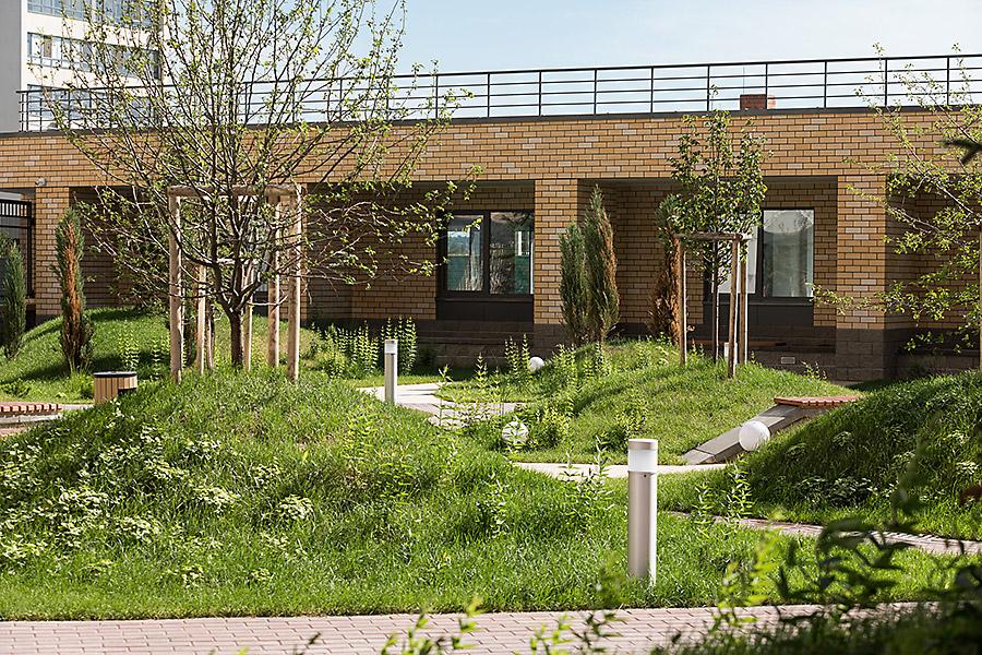 Ландшафт двора имеет разную высоту и спускается вниз террасами.