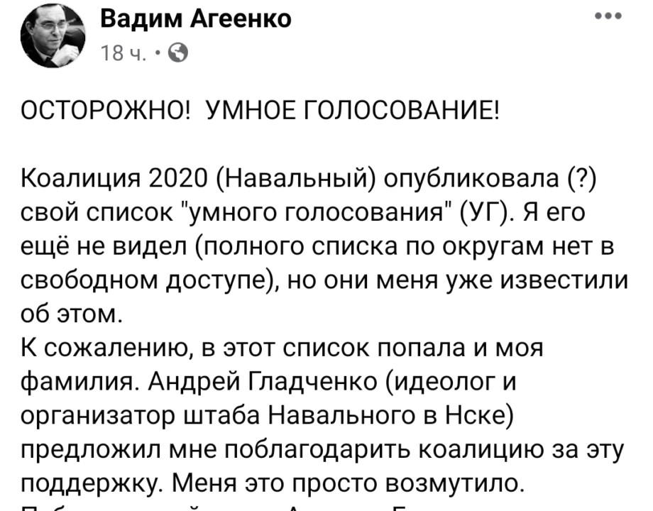 Новосибирский кандидат попросил убрать его имя из рекомендаций «Умного голосования» - Фотография