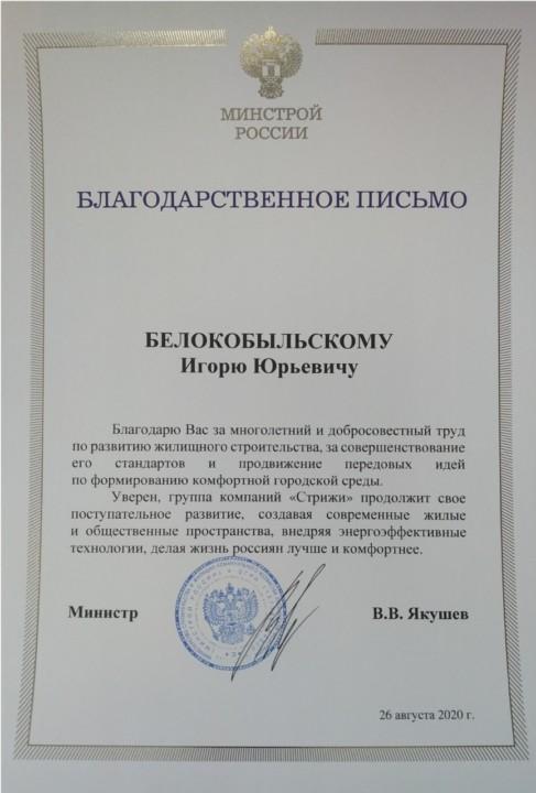 Гендиректору ГК «Стрижи» вручили персональную благодарность Минстроя РФ - Фотография