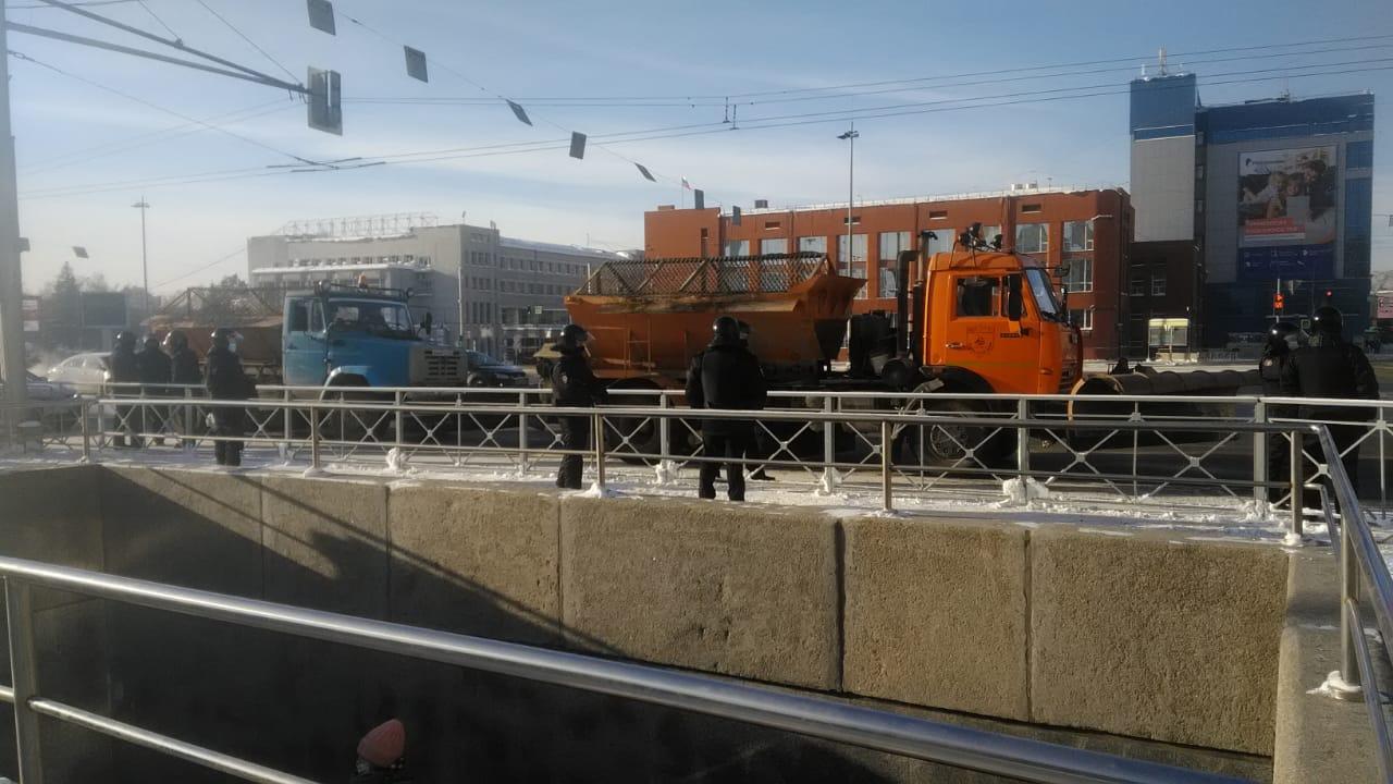 Несанкционированный митинг в Новосибирске - площадь Ленина
