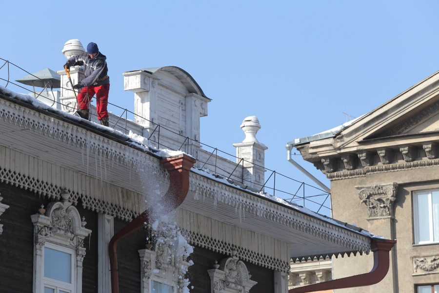 Уборка снега, крыша