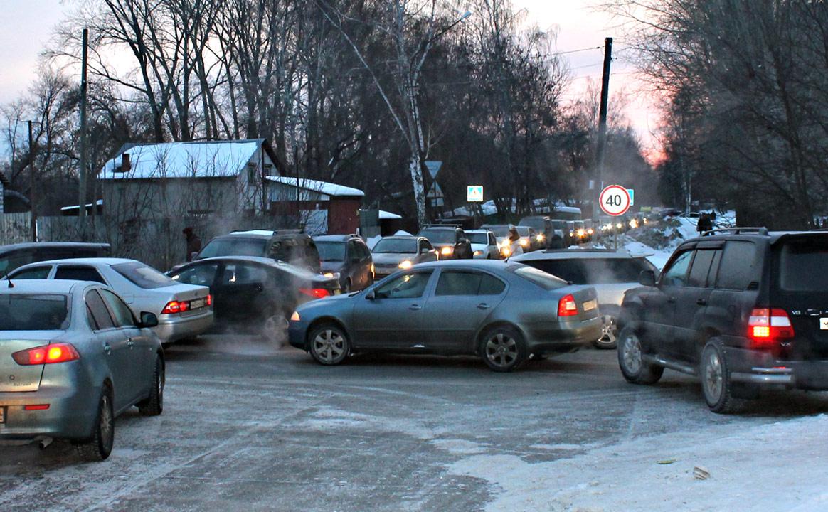 Пробки в Чистой слободе в Новосибирске