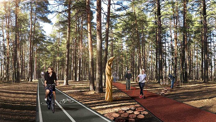 Велодорожка и трасса для скандинавской ходьбы в Заельцовском парке