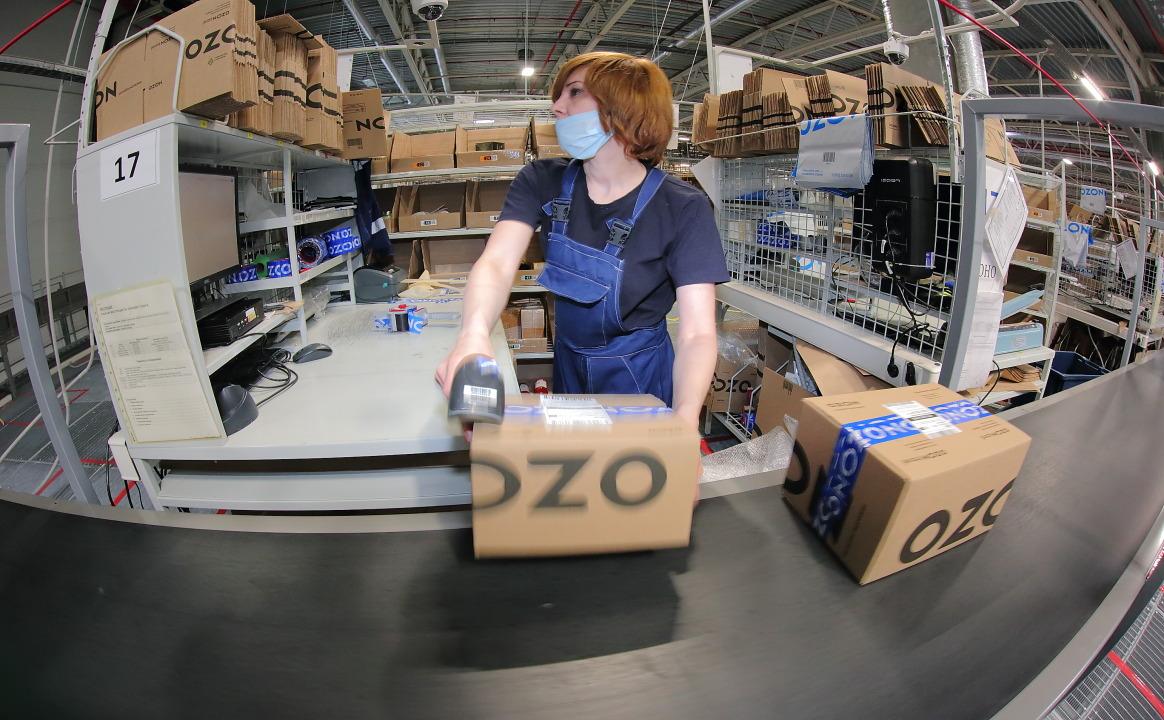 Логистический центр Ozon сортировочная линия