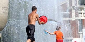 жара, Новосибирск, фонтан