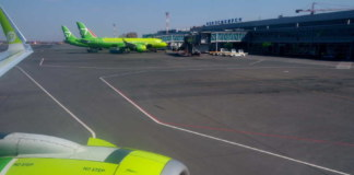 аэропорт лётное поле терминал самолёты S7 Airlines