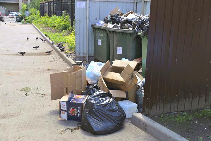 мусорный контейнер переполнен