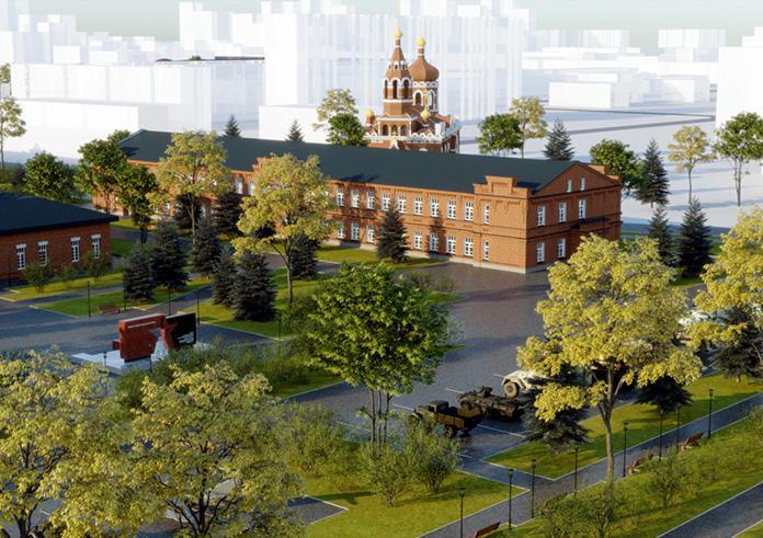 Вид на музейный корпус (бывшая батальонная казарма