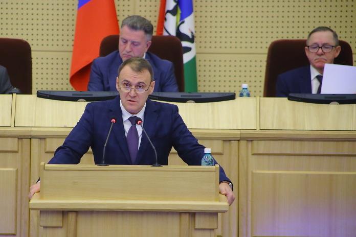 Доклад министра Шмидта в Заксобрании Новосибирской области